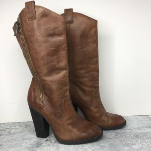 Jessica Simpson Tall Brown Zipper Heeled Boots